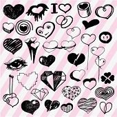 Many Cute Hearts Hand Drawn Outline