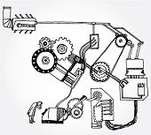 image of mechanical drawing  - Hand Drawn Illustration of Some Mechanism and a Scientist - JPG
