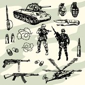 Some Military Things Hand Drawn
