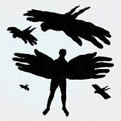 Hand gezeichnete Abbildung der fliegende Männer