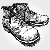 Illustration of Old Nice Boots Hand Drawn