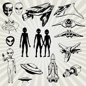 Some Doodled Illustration of Aliens and Their Spaceships