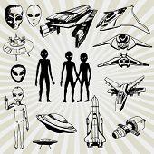 Algumas ilustrações Doodled de alienígenas e suas naves