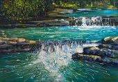 View Of The Cascading River Dagomys In The Sochi National Park. Landscape - Decorative Texture On Ca poster