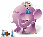Big bank elephant is meeting with working mice. Big banks do not accept small enterprises.