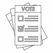 Election Paper Icon. Outline Election Paper Vector Icon For Web Design Isolated On White Background poster