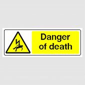 Plate: danger Of Death Sign(panoramic Sign). Sign: danger Of Death Sign(panoramic Sign) On A Gra poster