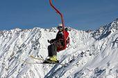 Skier On Ski Lift