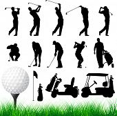 foto of caddy  - Vector Golfer Silhouettes - JPG