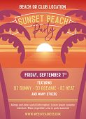 Sunset Party Template For Beach Event. Vector Illustration Design Easily Editable With Your Text. Be poster