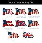 American Historic Waving Flag Set. The Set Includes Flags From The Revolutionary, Civil, Korean And  poster