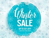 Winter Sale Vector Banner Template With White Snowflakes Background, Snow Elements And Blue Circle F poster