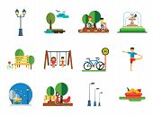 Park Icon Set. Winter Park Cycling Sandbox Park Fountain Bicycle Parking Lamps Walking Girls On Swin poster