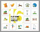 Park Icon Set. Winter Park Cycling Sandbox Fountain Bicycle Parking Park Lamps Walking In Park Girls poster