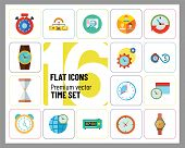 Time Icon Set. Time Is Money Management Calendar Time World Time Alarm Clock Sandglass Round-the-clo poster