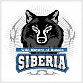 Siberian Wolf - A Wolf Head On The White Background. Russian Siberia - Vector Emblem. Wild Nature Of poster