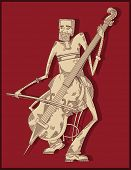 cello player - line drawing -red background vector