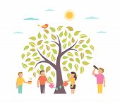 Grow Illustration With Tree People Growing Plant On White Background poster