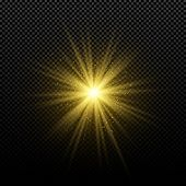 Golden Glowing Golden Star On A Transparent Background. Glowing Magical Star. Bright Flares. Gold Ra poster