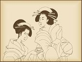 young ladies drinking tea- japanese style drawing