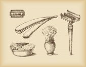 Shaving Equipment -isolated objects- drawing