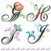 alphabets elements design -  series G to J