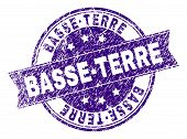 Basse-terre Stamp Seal Imprint With Grunge Texture. Designed With Ribbon And Circles. Violet Vector  poster