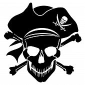 Pirate Skull Captain With Hat And Cross Bones