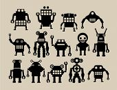 stock photo of animated cartoon  - a team of robots 2 - JPG