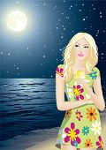 The young beautiful girl enjoys a starlit night