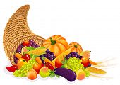 Vector illustration - Horn of Plenty with  vegetables and fruits
