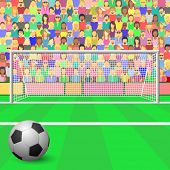 A Soccer Goal with ball and Crowd in Stadium