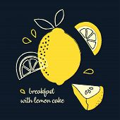 Banner With Slice Of Lemon Pie, Whole Lemon And Pieces On Dark Background, Delicious Breakfast With  poster