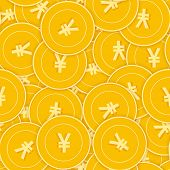 Chinese Yuan Coins Seamless Pattern. Incredible Scattered Cny Coins. Big Win Or Success Concept. Chi poster