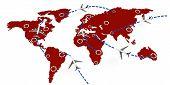Globale 3D-Flug Routen Konzept