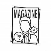 Magazine Linear Icon. Thin Line Illustration. Tabloid. Periodical Publication With Celebrity Photo.  poster
