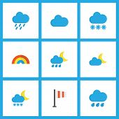 Climate Icons Flat Style Set With Flag, Frost, Snowy And Other Cloud Elements. Isolated Vector Illus poster