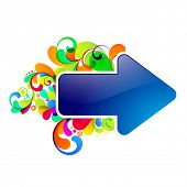Blue arrow, decorated with colorful graphic. EPS10