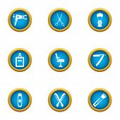 Coiffeur Icons Set. Flat Set Of 9 Coiffeur Vector Icons For Web Isolated On White Background poster
