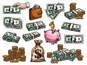 Money Dollar Banknotes And Coins Or Piggy Bank Sketch Icons. Vector Set Of 100 Dollars Money Bank No poster