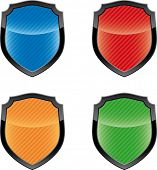 Glossy empty shield emblems  (vector icon set)