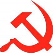 stock photo of hammer sickle  - Communism hammer and sickle simple in red color - JPG