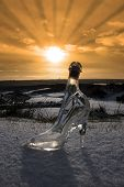 Crystal Glass High Heels On Sunset Snowy Golf Course