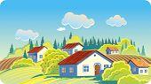 Summer landscape with cottage settlement