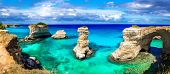 Natural landmarks and best beaches of Puglia. Torre di Sant Andrea near Otranto. Itly poster