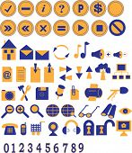 Two-coloured icons and buttons collection for the web