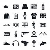 Hiphop Rap Swag Music Dance Icons Set. Simple Illustration Of 16 Hiphop Rap Swag Music Dance Vector  poster