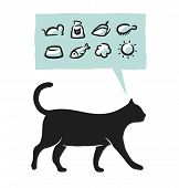 Cat supplies icons set. Vector illustration.