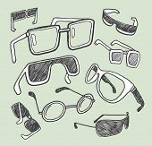 Glasses doodles collection. Vector illustration.