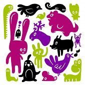 Animal doodles. Vector illustration.